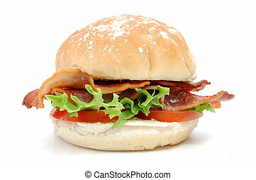 Closeup of a bacon roll with lettuce and tomatoes