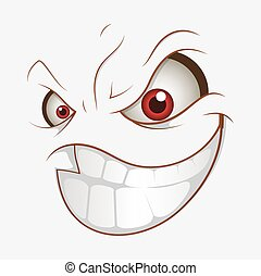 Naughty Cartoon Face Smile Expression Vector Illustration