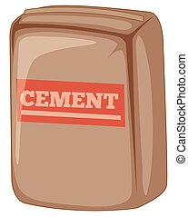 Bag of cement on white background
