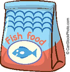 Bag of fish food on white background