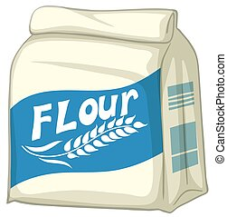 Bag of flour on white background