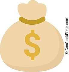 Bag of money, illustration, vector on white background.