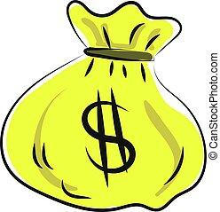 Bag of money, illustration, vector on white background