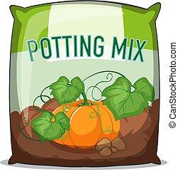 Bag of potting mix on white background