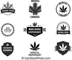 Bages and labels for medical marijuana. Cannabis logo