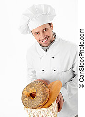 Baker of bread on a white background