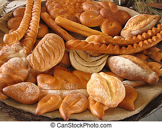 Group of bakery products