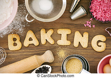 Cookies forming the word baking