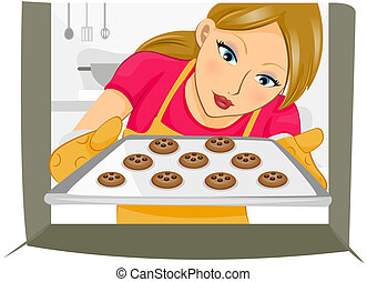 Girl baking Cookies with Clipping Path