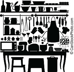 A big set of bakery tools and utensils for kitchen.