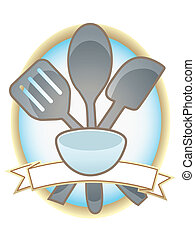 Blue and gold metal spoon and spatula in text friendly