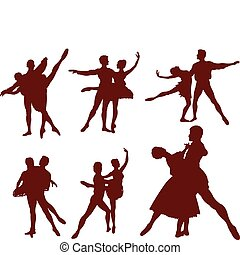 Ballet couple silhouettes