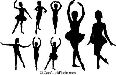 Ballet girls dancers silhouettes
