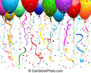 Falling confetti background with balloons