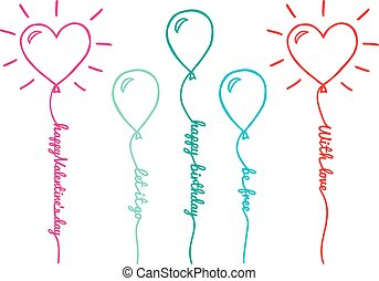 Balloons with text, vector set