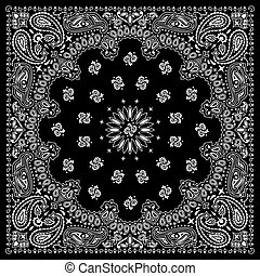 Black bandana with white ornaments. No transparency and gradients used.