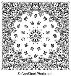 White bandana with black ornaments. No transparency and gradients used.