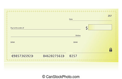 Bank Check illustration isolated over a white background