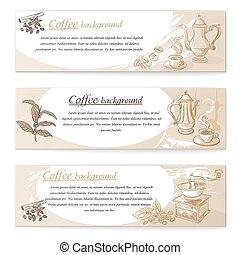 Banner set of vintage coffee backgrounds