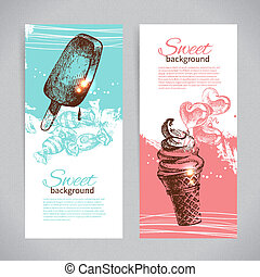 Banner set of vintage hand drawn sweet backgrounds. Menu for restaurant and cafe