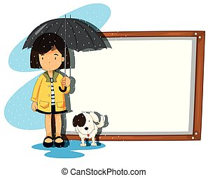 Banner template with girl and dog in the rain