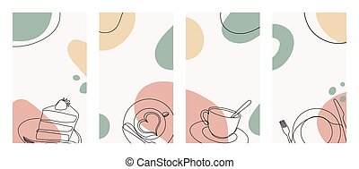 Banner with a cup of coffee with a heart shape in a hand drawn linear style with colorful abstract stains.