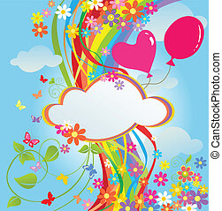 Banner with flowers and rainbow