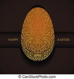 Banner with golden ornamental egg. Happy Easter holiday greeting.