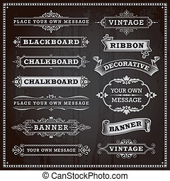 Vintage design elements - banners, frames and ribbons, chalkboard style