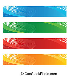 Banners in haftone and curved lines vector illustration