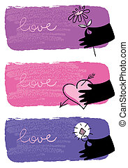 Banners of Valentine day