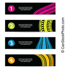 banners with tire track design