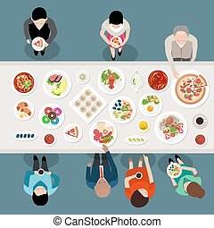 Banquet Catering Party Top View poster with people choosing and eating meals standing by the table vector illustration