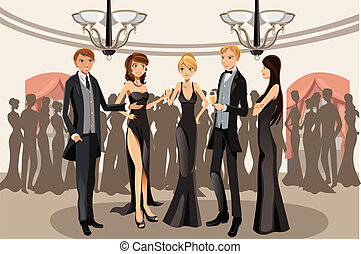 A vector illustration of people in a banquet party