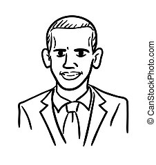 Barack Obama cartoon caricature, black and white doodle vector. Simple line drawing of the president of United states.
