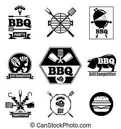 Barbecue logo set