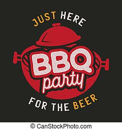 Barbecue party logo template. BBQ print for t-shirt, sticker, poster. Stock vector emblem