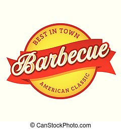 Barbecue sign vintage label tag