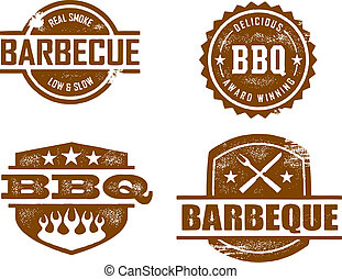A selection of vintage style distressed stamps featuring carious BBQ themes.