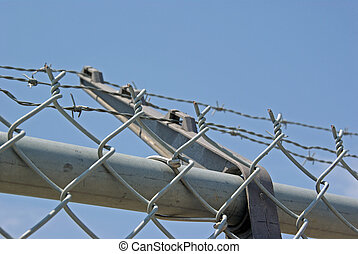 close up of barbed wire fencing