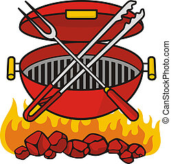 Barbeque grill over flaming charcoal with crossed fork and tongs.