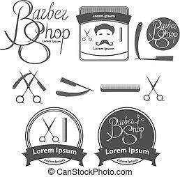 vintage barber shop logo, design elements, concept, label