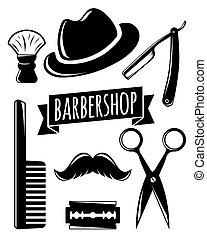 Barbershop accessory set, vector illustration for your design, eps10