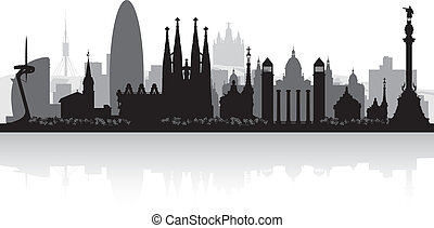 Barcelona Spain city skyline vector silhouette illustration