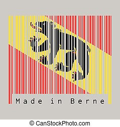 Barcode set the color of Bern flag, The canton of Switzerland with text Made in Berne.