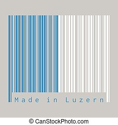 Barcode set the color of Lucerne flag, The canton of Switzerland with text Made in Luzern.