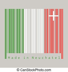 Barcode set the color of Neuchatel flag, The canton of Switzerland with text Made in Neuchatel.