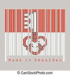 Barcode set the color of Obwalden flag, The canton of Switzerland with text Made in Obwalden.