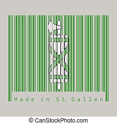 Barcode set the color of Sankt Gallen flag, The canton of Switzerland with text Made in St. Gallen.