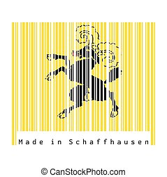 Barcode set the color of Shaffhausen flag, The canton of Switzerland with text Made in Shaffhausen.